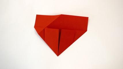 Origami valentine heart making