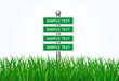 Sign direction with green grass on white background