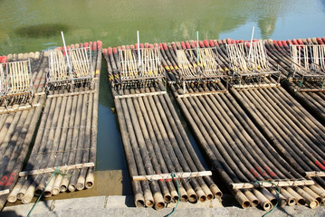 Bamboo raft by the river