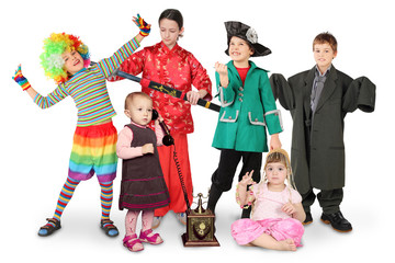 many children in costumes, clown, businessman, pirate, fighter,