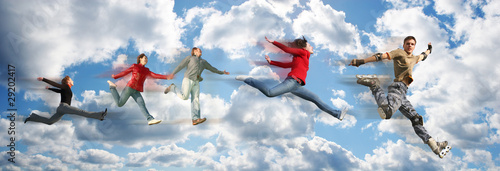 flying people on sky cloud panorama collage