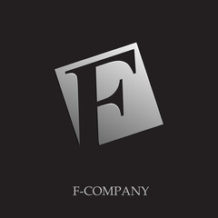 Logo initial letter F on black background # Vector