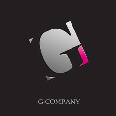 Logo initial letter G on black background # Vector