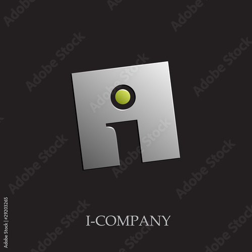 Logo initial letter I on black background # Vector