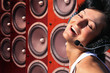 happy woman with headphones and music Audio speakers collage