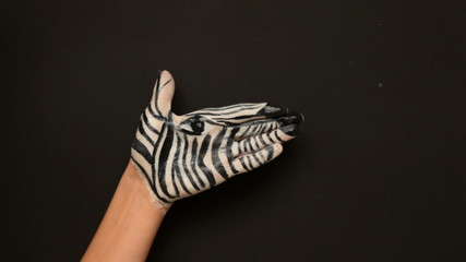 Zebra Painted Hand Animation