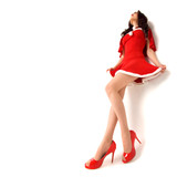 stylish woman in red xmas sexy costume isolated over white backg
