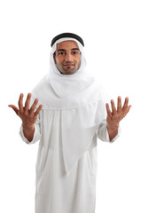 Arab man businessman shrugging