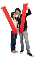 Happy Chinese new year. Young Asian couple showing