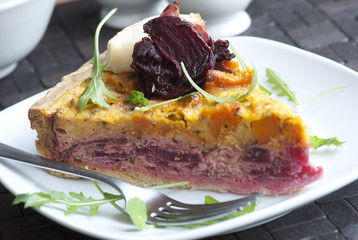 Beetroot quiche on a plate