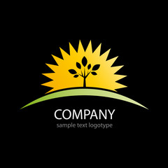 Logo sun and tree on black background # Vector