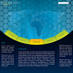 Map website design with hexagons