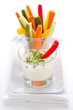 Healthy vegetable sticks with dip