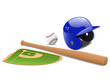 Baseball field, ball and accessories