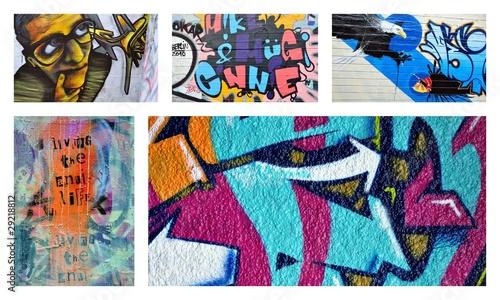Tuinposter Graffiti collage libéralisme ...le choc des idéaux