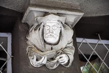 Sculpture on the house with chimeras in Kharkov, Ukraine