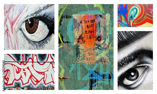 Deurstickers Graffiti collage le regard social