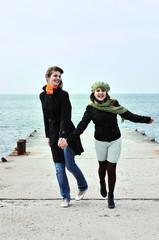 two running  teen girls