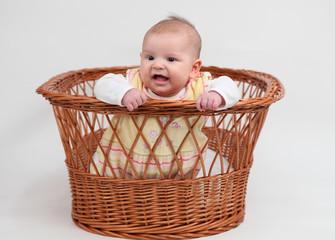 Little baby girl sitting in a basket