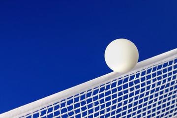 Pelota blanca de ping pong en el medio de la red