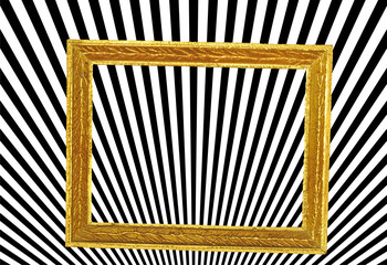 Abstract, optical illusion, stripes in golden frame
