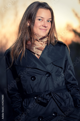 Woman in casual wear over nature