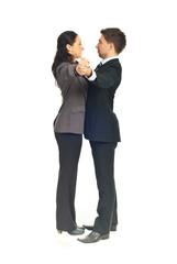 Executives dancing waltz