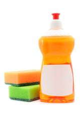 Dishwashing Liquid And Sponges Isolated on White Background