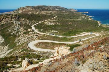 Serpentine road in Corsica island