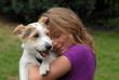 Leinwanddruck Bild - Kind mit Hund