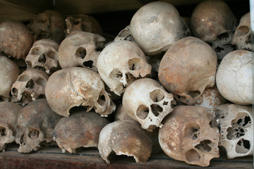 Skulls at Killing Field memorial, Cambodia