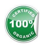 Pegatina 100% CERTIFIED ORGANIC con reborde poster