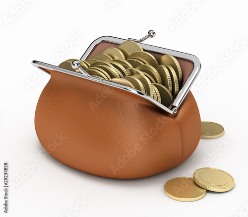 Coins in purse.
