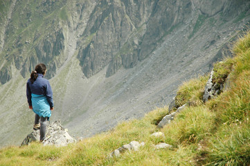 Girl on the top of the mountain, Fagaras mountains, Romania