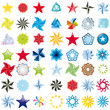 Collection of stars abstract vector icons symbols