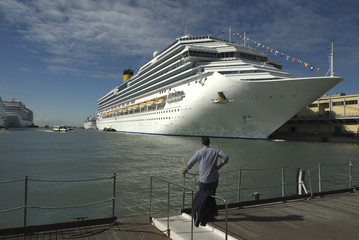 cruise ship with a person (Port of Venice)