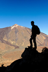 Man with Backpack in the Teide national park, tenerife