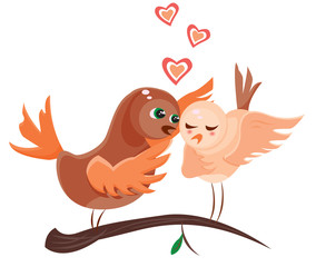 two cartoon love birds expressing their feelings