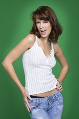 Young woman in tank top and jeans