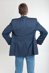 Rear view of man looking at something
