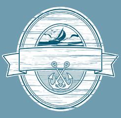 sailboat and anchors label