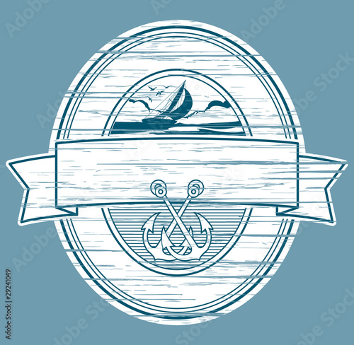 sailboat and anchors label