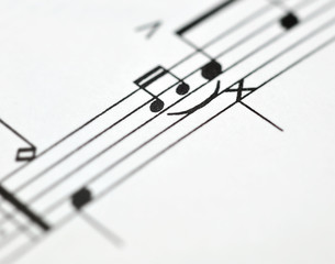 Music notes close up