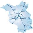 Bundesland Brandenburg mit Autobahnen