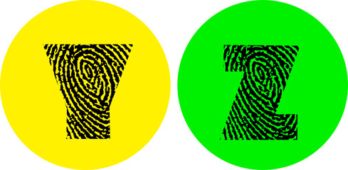 alphabet letters vector illustration - fingerprint letters