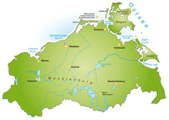 Bundesland Mecklenburg-Vorpommern als Übersicht