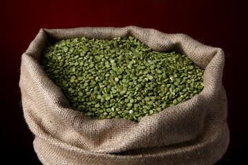 Sack of split green peas