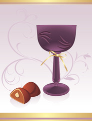 Glass with chocolate candies. Background for wrapping. Vector