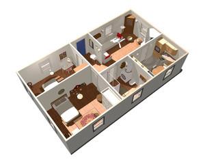 Casa Interno-House Interior-3D