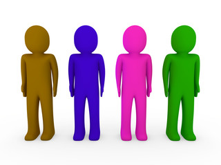 3d human team green pink blue brown